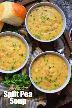 Vegetarian Split Pea Soup is every bit as delicious, wholesome, and nostalgic as the soup your mom made. This is a pantry staple recipe with a few fresh root vegetables. Chilli Recipes, Pea Recipes, Healthy Soup Recipes, Vegan Recipes Easy, Clean Eating Recipes, Cooking Recipes, Healthy Foods, Yummy Recipes
