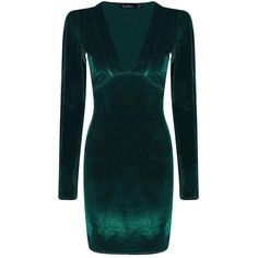 Boohoo Kate Velvet Plunge Neck Bodycon Dress | Boohoo ($35) ❤ liked on Polyvore featuring dresses, green party dress, sequin dresses, sequin bodycon dress, bodycon dress and green maxi dress