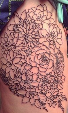 maybe less, but i can see this on one side of my ribcage Cute Tattoos, Beautiful Tattoos, Flower Tattoos, Black Tattoos, Body Art Tattoos, Sleeve Tattoos, Tatoos, Desert Tattoo, Black And White Flower Tattoo