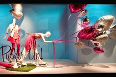 VALENTINE'S DAY WINDOWS: PUCKER UP! love the balloons with the mannequins