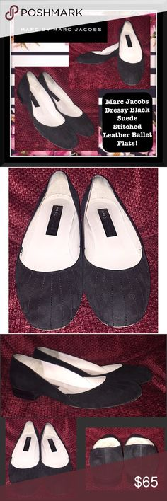 """Marc Jacobs Dressy Suede Leather Ballet Flats! Marc Jacobs Dressy Black Suede Stitched Leather Ballet Flats! Features: 100% authentic, pretty stitched linear from design, """"MARC JACOBS"""" on insole & bottom. Made in Italy. Very good condition with minor wear on bottom. Sz 8. 10 1/2"""" insole length, 3 1/4"""" across bottom, 3/4"""" heel. Very comfy & offers welcome! Marc by Marc Jacobs Shoes"""