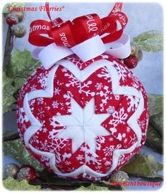 Quilted Christmas Ornament Snowflake Ornament red white                                                                                                                                                                                 More