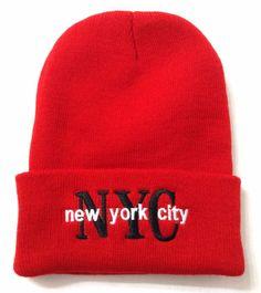 NEW YORK CITY NYC BEANIE Cuffed Winter Knit Ski Hat Men/Women Red/White/Black #Beanie