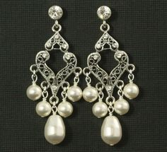 Victorian Chandelier Earrings -- Antiqued Silver Chandeliers with and Swarovski Crystal Pearls and Rhinestones -- VICTORIAN ROMANCE. $28.00, via Etsy.