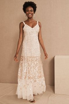 Needle & Thread Patchwork Sequin Cami Gown Stunning Wedding Dresses, Bohemian Wedding Dresses, Boho Wedding, Destination Wedding, Ice Dresses, White Maxi Dresses, Tuxedo Dress, Tie Dress, Bridal Outfits
