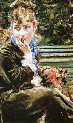 """Giovanni Boldini (Italian, 1842-1931)  """"Sulla panchina al Bois"""" 1872 dettaglio"""