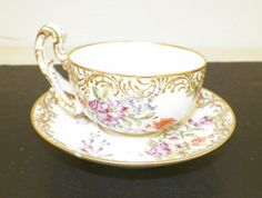 Meissen Cup Saucer Barley Co Chicago Cup Saucer Floral Design with Gold