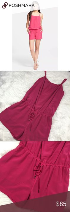 NWT Joie Ilona pink silk romper New with tags. Comes from smoke-free/ pet free environment.  Adjustable straps  Size: Large  Length(from shoulder to hem): 33  Underarm to Underarm: 20  Material: Silk Joie Pants Jumpsuits & Rompers