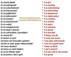 Some useful German phrases, mostly with adjectives.