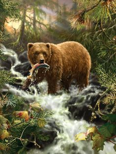 "Grizzly Gorge is a 500 piece jigsaw puzzle by SunsOut. Puzzle measures 18"" x 24"" when complete. Art by Dona Gelsinger.   	Sunsout puzzles are 100% made in the USA 	Eco-friendly soy-based inks 	Recycled boards 	Not sold in mass-market stores"