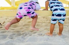 Sun Safe Baby UV Short Sleeve Sunsuit, Whales, Blue - UPF50+