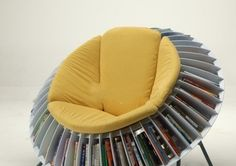 Sunflower chair design, this is amazing use of book storage