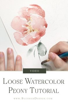 art for beginners flowers Loose Watercolor Peony - Watercolor Tutorial for Beginners — Blushed Design Peony Drawing, Peony Painting, Watercolor Peony, Watercolor Cards, Flower Drawings, Butterfly Watercolor, Watercolor Artists, Simple Watercolor, Watercolor Portraits