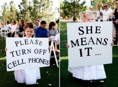 Instead of flower girl, sign bearers Visit http://www.brides-book.com for more great wedding resources