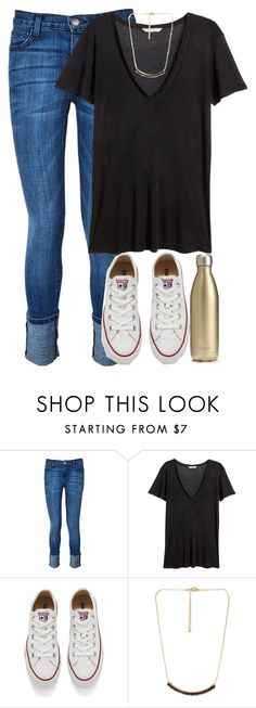 """Something more weather appropriate "" by red-velvet-n-pearls ❤ liked on Polyvore featuring Current/Elliott, H&M, Converse, Forever 21, S'well, women's clothing, women, female, woman and misses"