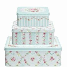 Set of Three Tin Boxes, Mint by GreenGate £19.95 - Greengate - Homewares What a Lovely Shop