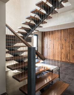 Interior. Great Design Ideas Of Modern Staircases. Good Looking Modern Staircase Design features Brown Wooden Treads and Silver Color Metal Balusters