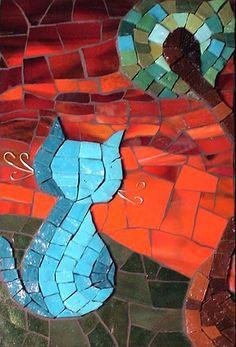 Blue Moggie by Christine Brallier   Maplestone Gallery  Contemporary Mosaic Art