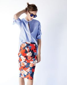 Blue button down + red floral print pencil skirt