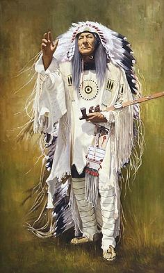 CHIEF BIRD-IN-GROUND by ED COPLEY Oil ~ 70'' x 42''
