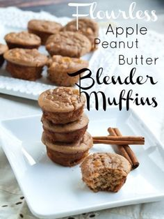 15 minute Flourless Apple Peanut Butter Blender Muffins.  (Banana free!) These blender muffins are gluten-free, easy, and ready in 15 minutes TOTAL time, including baking.  You are going to love these.  Great for breakfast or a healthy snack.