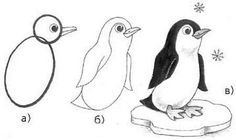 Learn drawing in pencil - a Penguin