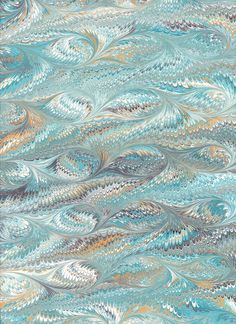 Marbled Paper handmade 9x12in  blue feather pattern by artonwater, $3.99