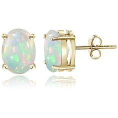 Glitzy Rocks Sterling Silver Ethiopian Opal Oval Stud Earrings (23 AUD) ❤ liked on Polyvore