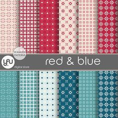 """Geometric digital paper: """"RED & BLUE"""" with geometric seamless pattern, geometric paper on red and blue, red and blue background for cards"""