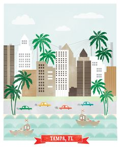 Tampa Florida art print illustration - 11x14 -  city buildings poster wall decor beach palm tree... reminds me of Galveston
