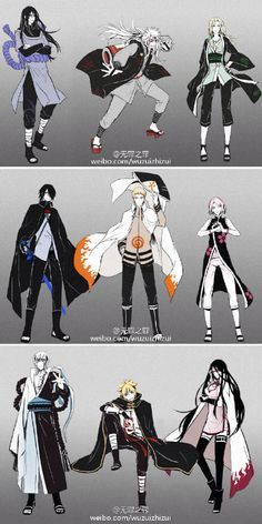 Orochimaru • Jiraya • Tsunade • Sasuke • Naruto • Sakura • Mitsuki • Boruto • Sarada