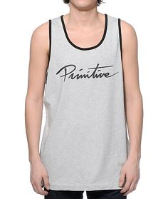 Update your tank game with a clean and classic black Primitive script logo graphic on the chest of a comfortable cotton constructed heather grey colorway.