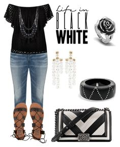 """""""Life In Black and White"""" by tammy-gardner on Polyvore featuring Silver Jeans Co., Simone Rocha, River Island, Billabong, West Coast Jewelry, Alexis Bittar, Chanel, white, black and plussize"""