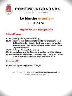 """""""gusta l'arancione: le Marche arancioni in piazza"""" - Programma del Comune di GRADARA"""