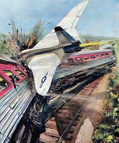 https://flic.kr/p/vWJVY4 | 1958 ... jet hits train! | artist- Walter Molino