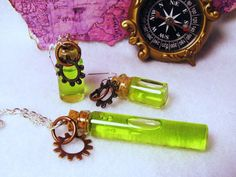 Steampunk Absinthe Vial Jewelry Set... Necklace and by WeirdPlush