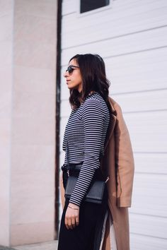 Randa Salloum, Vancouver Fashion Blogger, Street Style Blogger, Camel Coat, Stripe shirt, Frank & Oak, Minimal fashion outfit, Minimal fashion blogger, minimal style