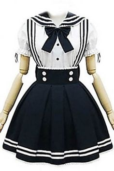 Short Sleeve Short White and Black Cotton School Lolita Dress , ocrun.com