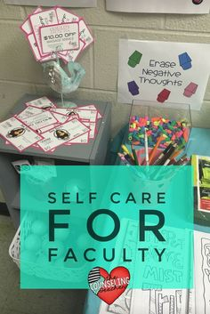 Teachers need to be reminded to take self care breaks to avoid burn-out. Try this Stress Busters Week for Faculty Kit to refresh the teachers and staff at your school. School Counselor Office, Elementary School Counseling, School Social Work, School Staff, Group Counseling, School Counselor Organization, Counseling Office Decor, Sunday School, Teacher Morale