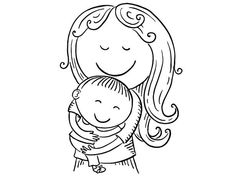 Happy cartoon mother with children, vector illustration, black and white Black And White Doodle, Black And White Girl, Clipart Black And White, Happy Cartoon, Cartoon Kids, Mother's Day Clip Art, Mom Clipart, Mother Images, Retro Images