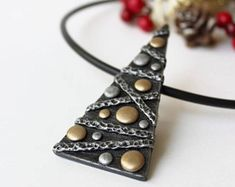 Polymer Clay Jewelry Pendant Necklace Christmas Tree Silver Gold Polymer Clay Jewelry Necklace Pendant