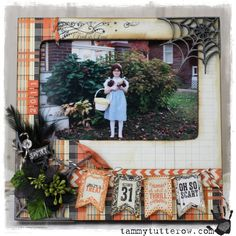scrapbooking layouts, scrapbook ideas, Fall, Halloween