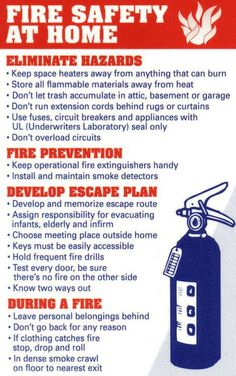Fire safety and knowing what to do ahead of time can make all the difference in the world. Below you will find a handy reminder of Home Fire Prevention and Safety Tips and what you should do to hel… Fire Safety Poster, Fire Safety Tips, Safety Posters, Fire Prevention Week, Workplace Safety, Office Safety, Home Safety, Child Safety, Disaster Preparedness