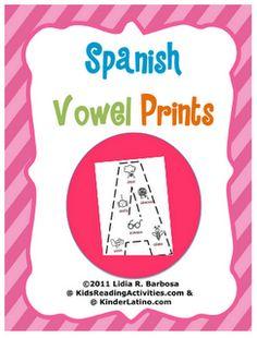 Free Spanish Vowel Prints by Lidia Barbosa from Kinder Latino at PreK + K Sharing