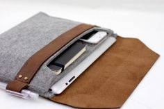 Чехол для iPad из шерсти *Конверт*, купить чехол для iPad из натуральной кожи, кожаный подарок деловому мужчине - Vipnotes.ru
