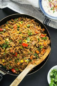 Tawa Pulao Recipe - A famous Mumbai Street food which is a spicy stir fry of rice with veggies. Read Recipe by Vegetarian Rice Dishes, Vegetarian Recipes, Cooking Recipes, Rice Recipes, Vegetarian Biryani, Paneer Recipes, Cooking Food, Vegan Meals, Mumbai Street Food