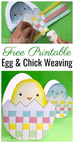 Easter Egg & Chick Paper Weaving - free printable for Easter. Make these cute Woven Egg & Chick Cards #easter #printables #ks1 #cardmaking #weaving