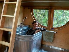 Bath tub in the Vardo trailer.