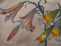 "Emil Nolde: ""Five Lilies (red, green and yellow)"""