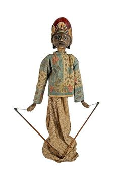 Vintage Java Wayang Golek Indonesian Theater Puppet on Stand